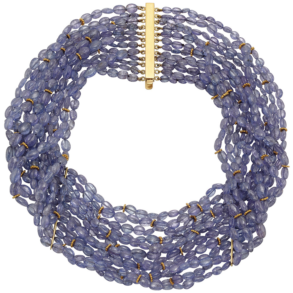 Multi-Strand Tanzanite Bead Necklace