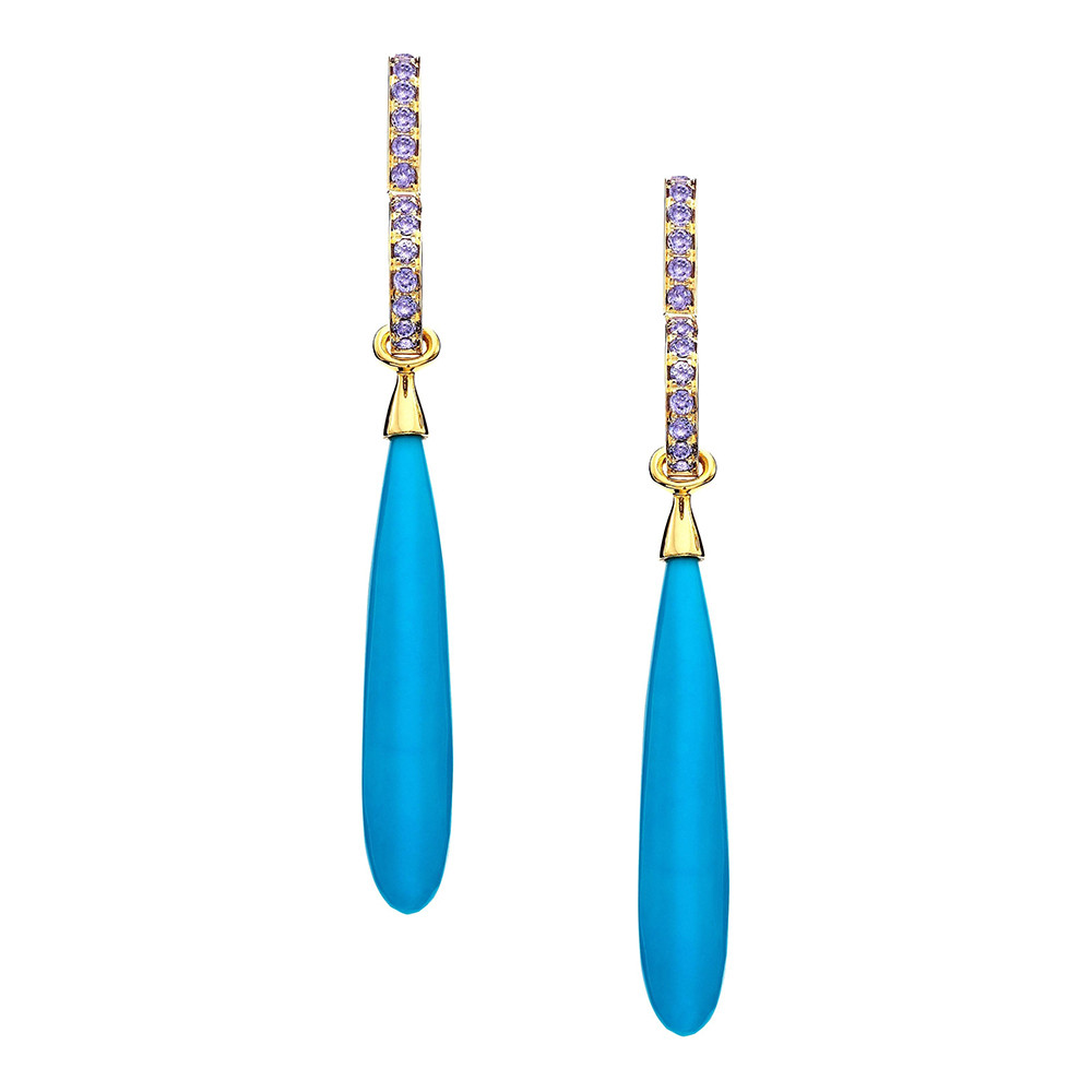 Turquoise & Tanzanite Drop Earrings