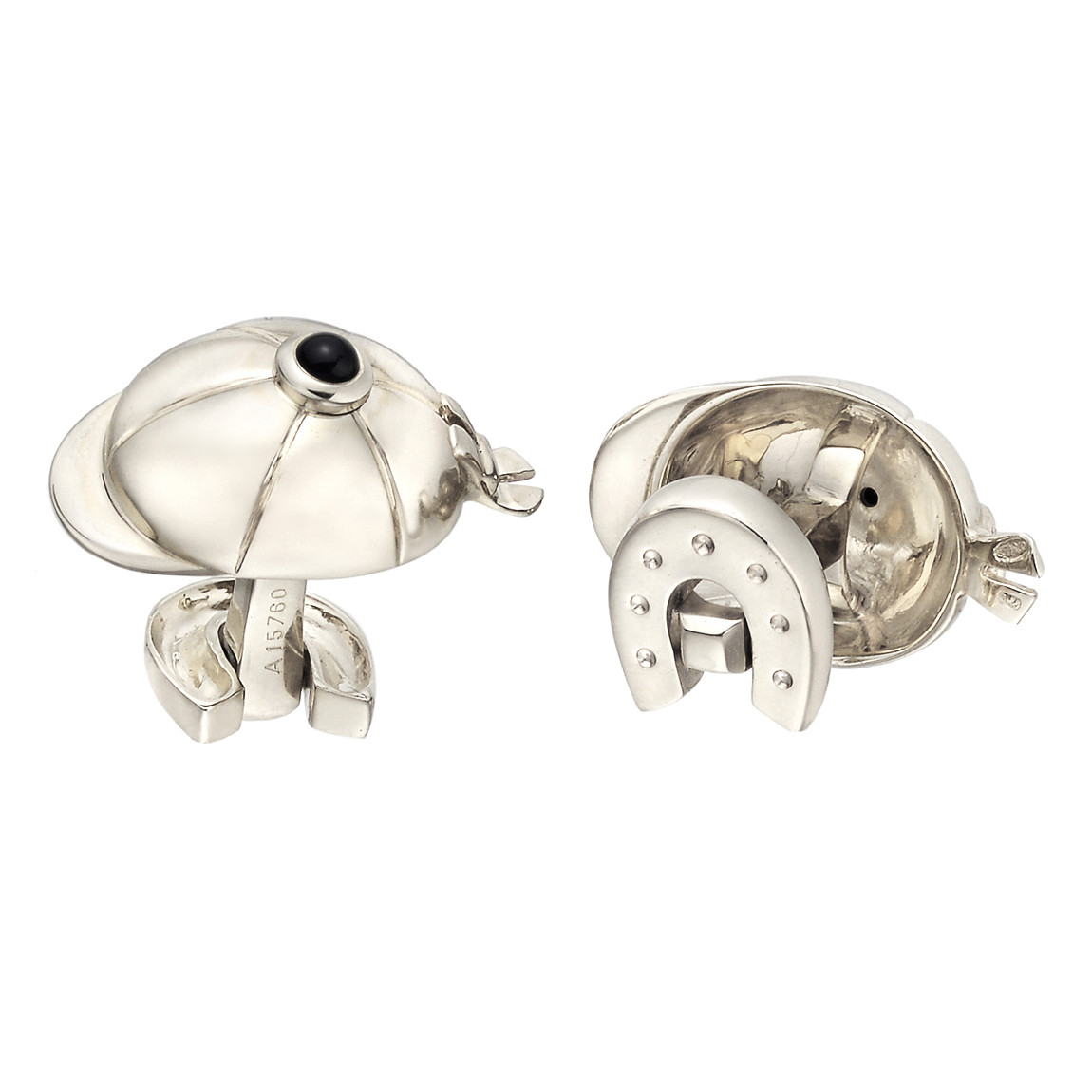 18k White Gold Riding Hat & Horseshoe Cufflinks