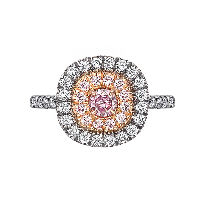 Pink & Blue Diamond Double Halo Ring