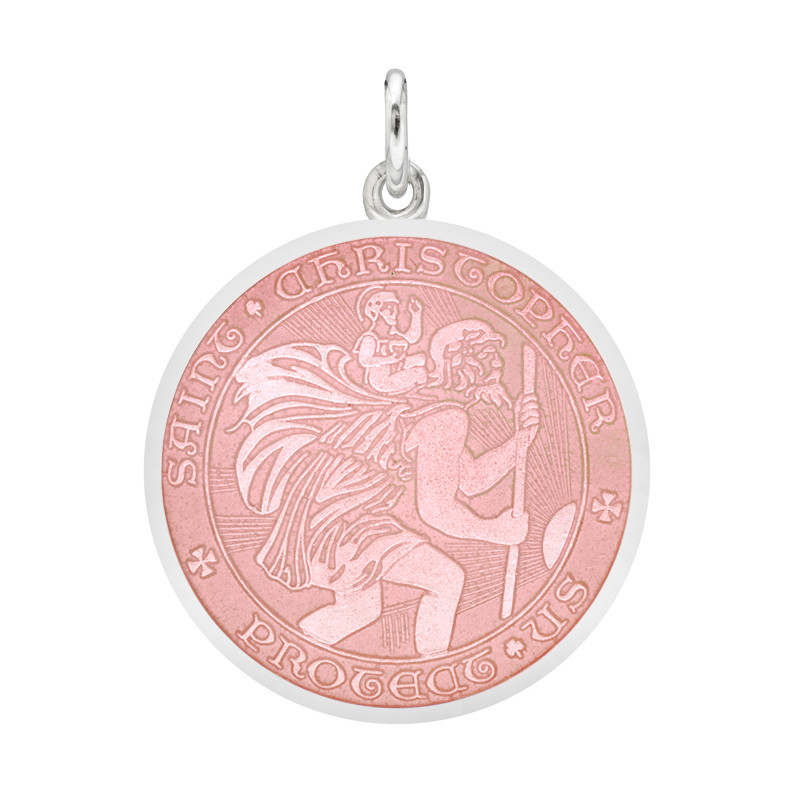 Medium Silver St. Christopher Medal with Pink Enamel