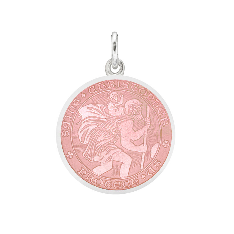 Small Silver St Christopher Medal with Pink Enamel