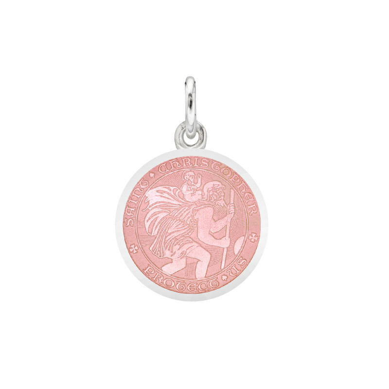 XS Silver St. Christopher Medal with Pink Enamel