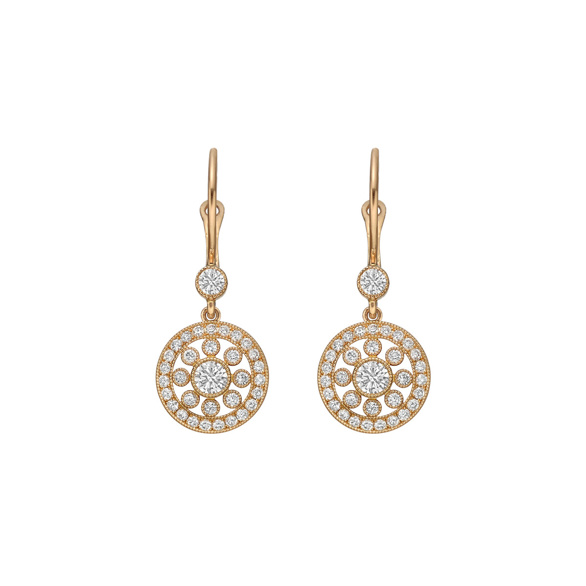 18k Pink Gold & Diamond Flower Drop Earrings
