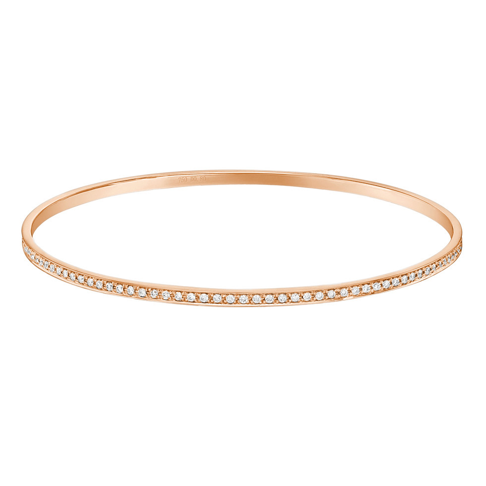 Thin 18k Pink Gold & Diamond Bangle (~0.8 ct tw)