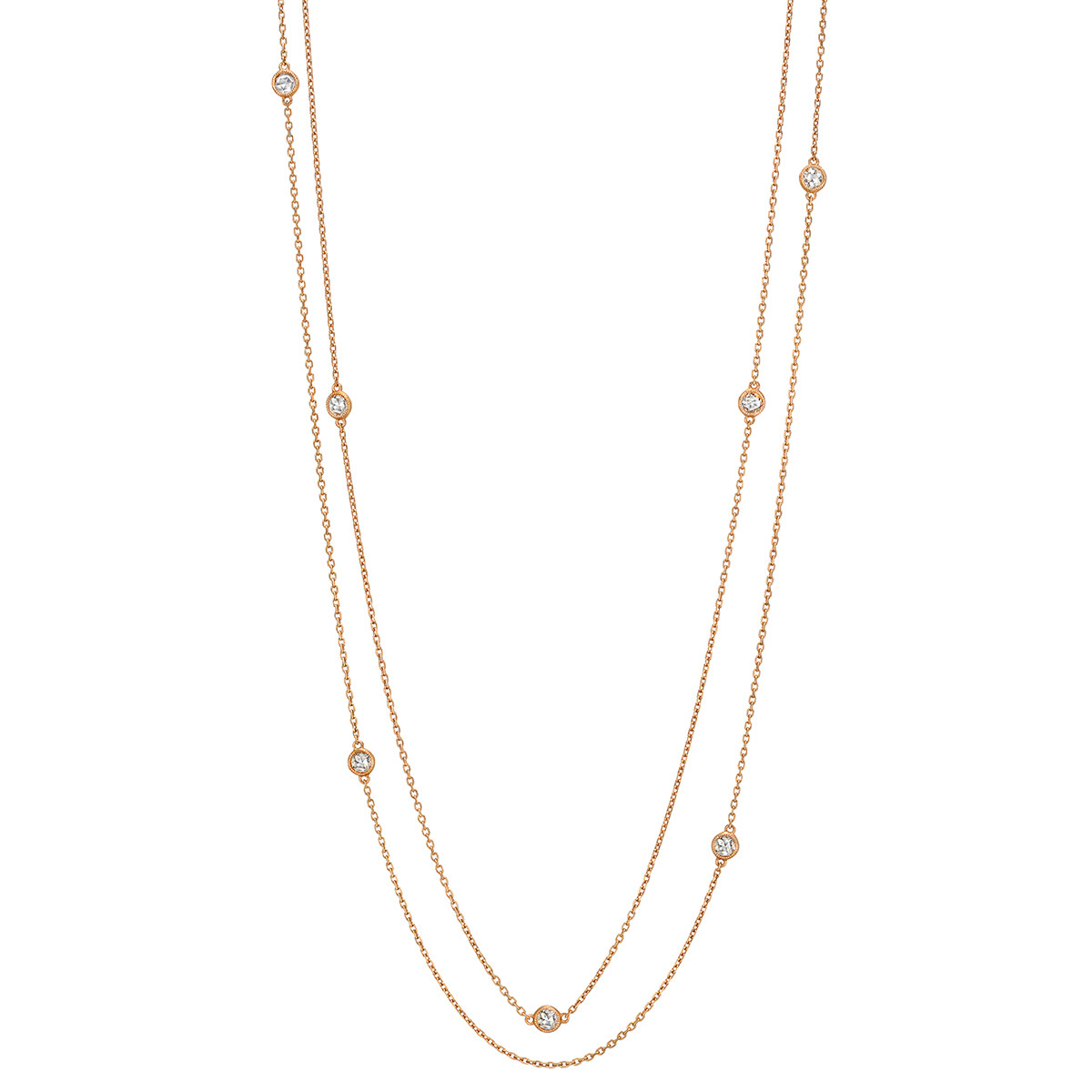 18k Pink Gold & Diamond Long Chain Necklace