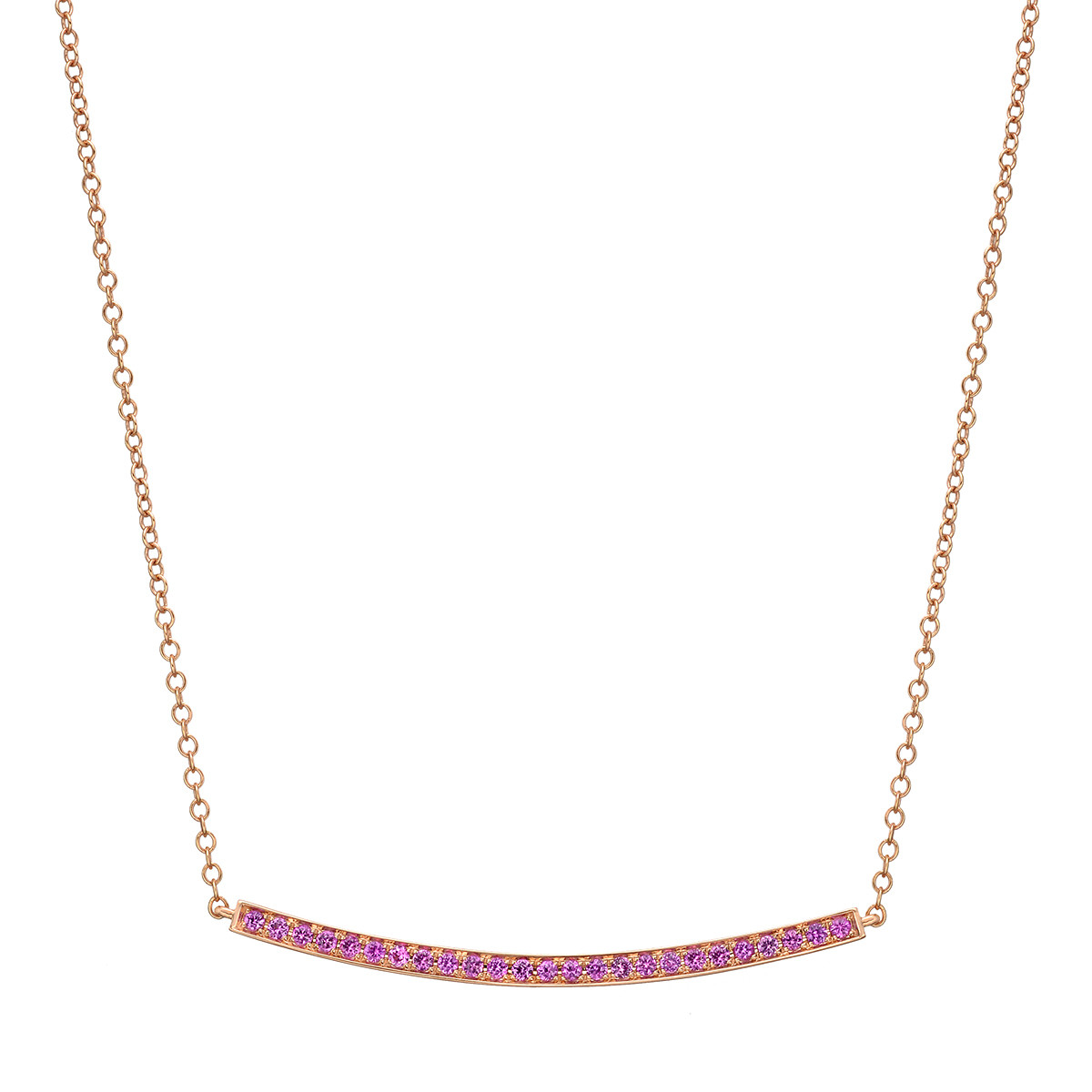 Pink Sapphire Curved Bar Pendant