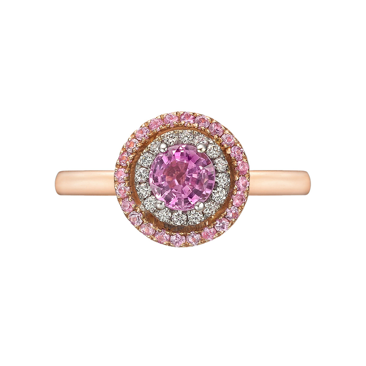 Pink Sapphire & Diamond Double Halo Ring