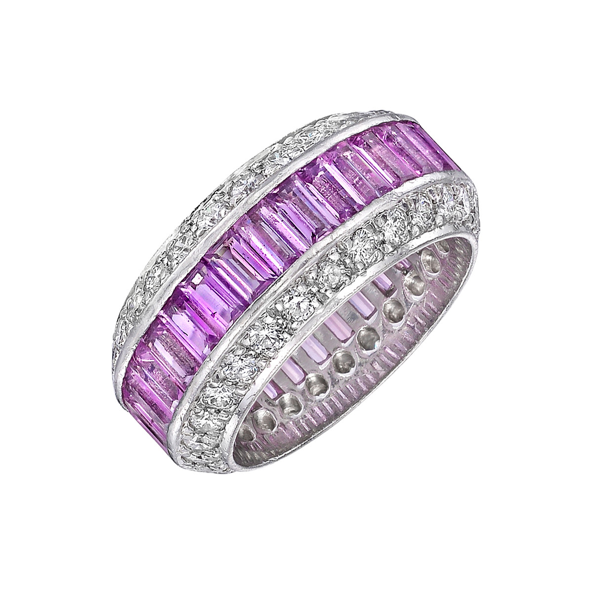 Pink Sapphire & Diamond Wide Band Ring