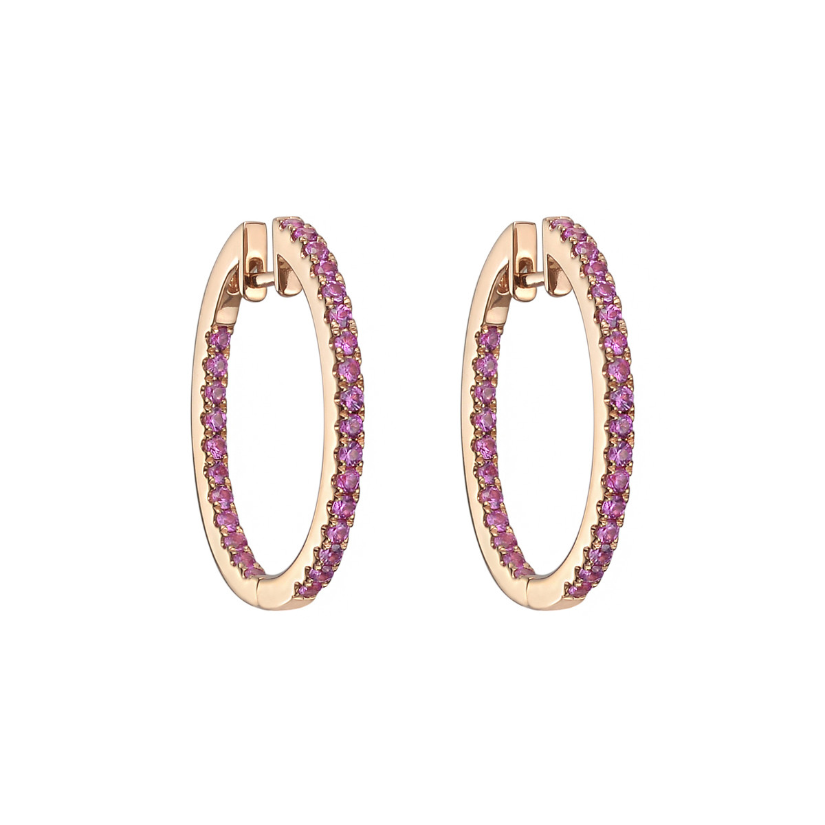 Small Pink Sapphire Hoop Earrings