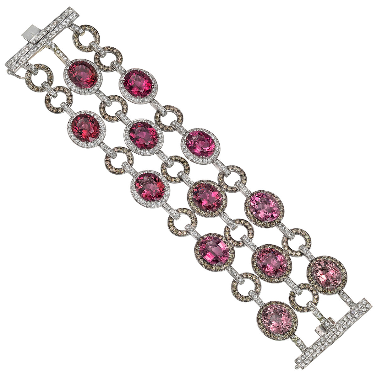 Pink Tourmaline & Multicolored Diamond Bracelet