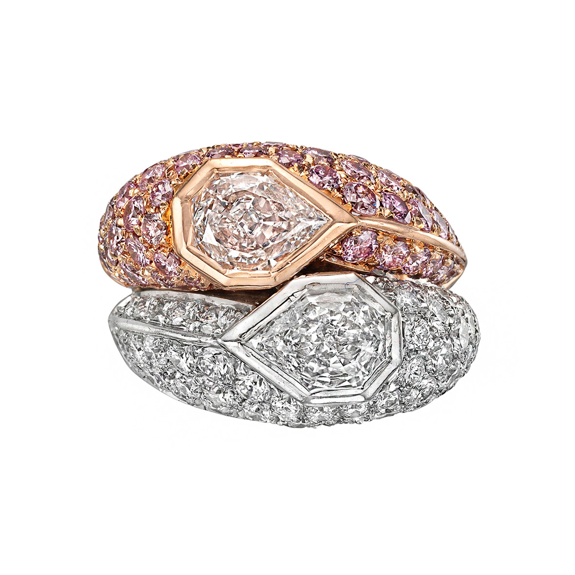 Pink & White Diamond Domed Double Ring