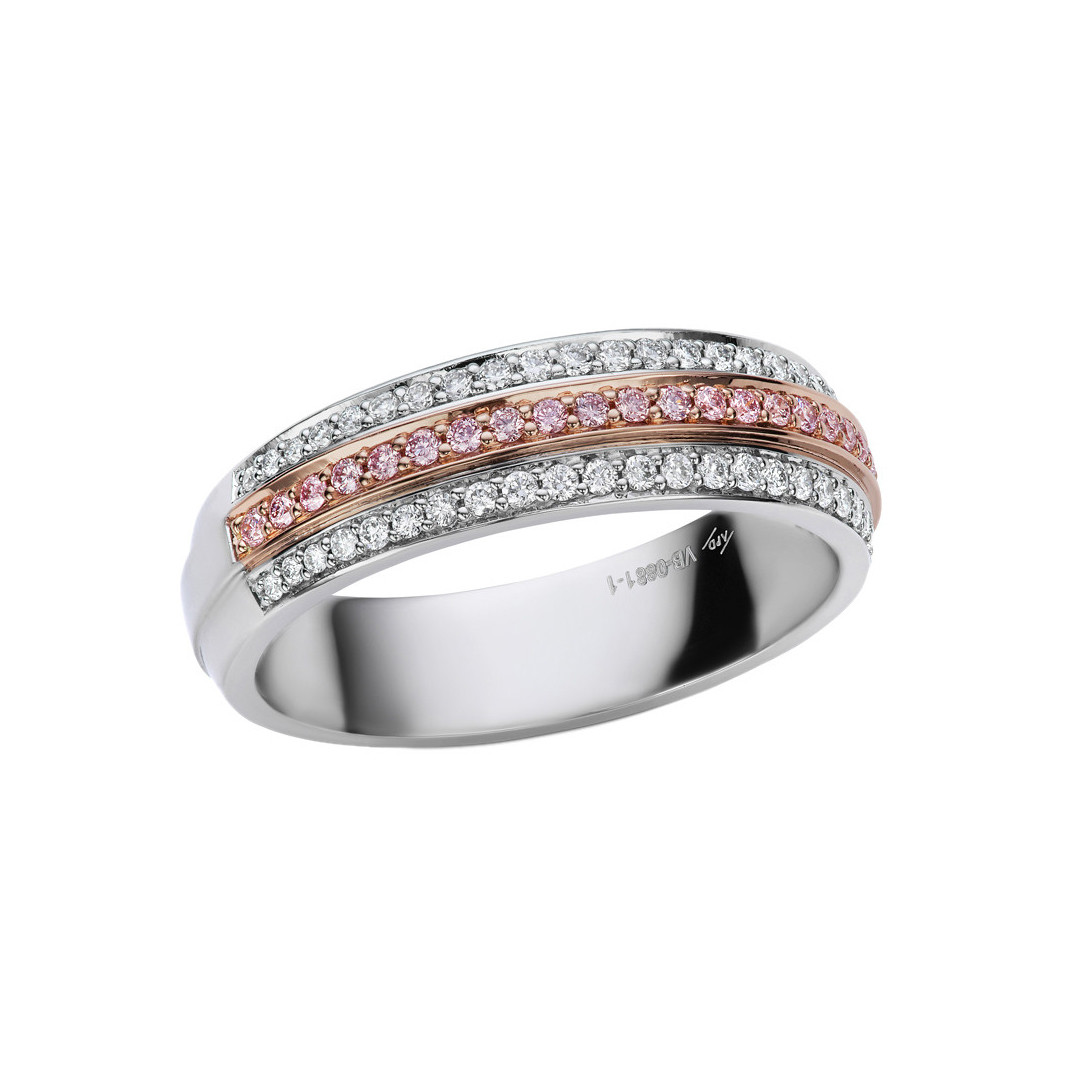 Pink & White Diamond Partway Band Ring
