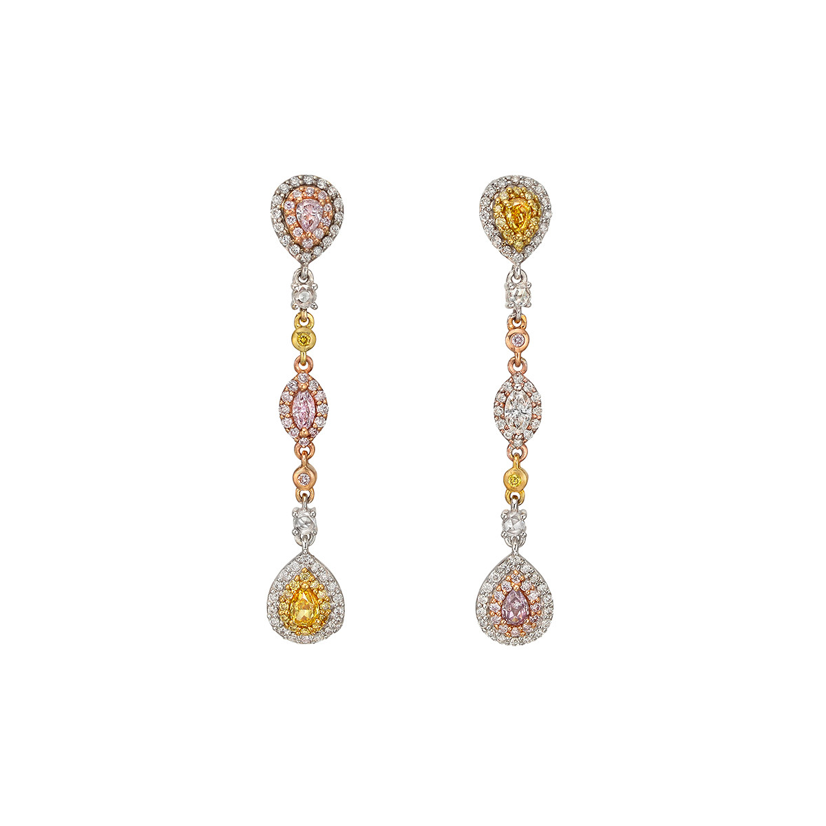 Pink, Yellow & White Diamond Drop Earrings