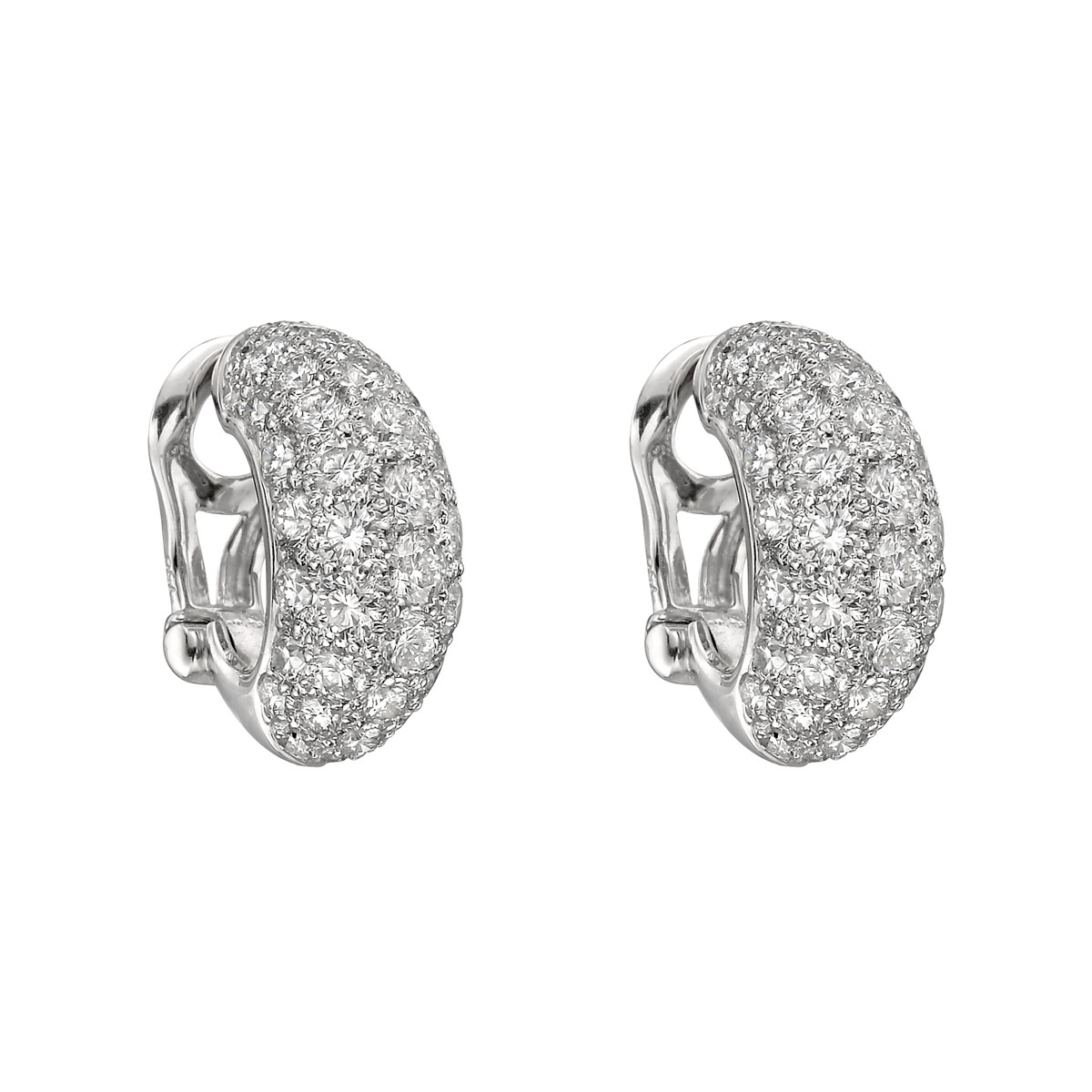 Diamond Domed Half-Hoop Earrings (~7.85 ct tw)