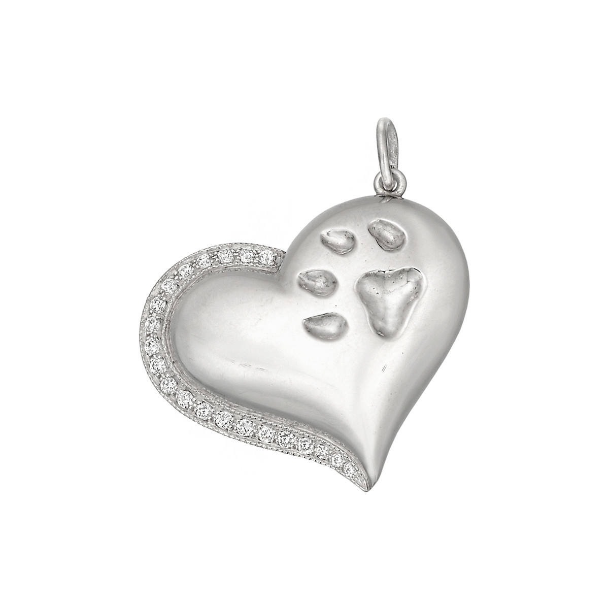 Platinum & Diamond Paw Print Heart Pendant