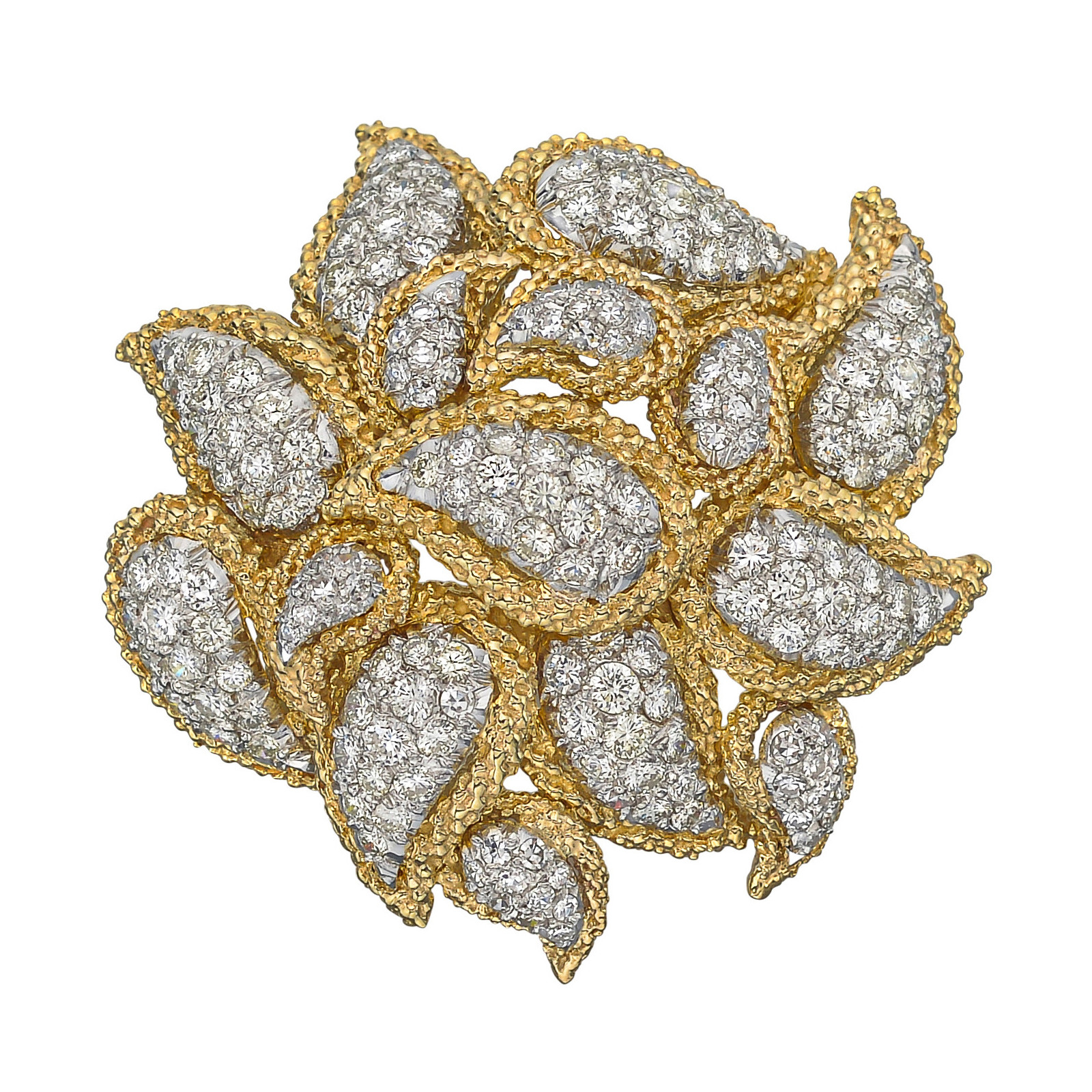 Platinum, 18k Gold & Diamond Paisley Brooch