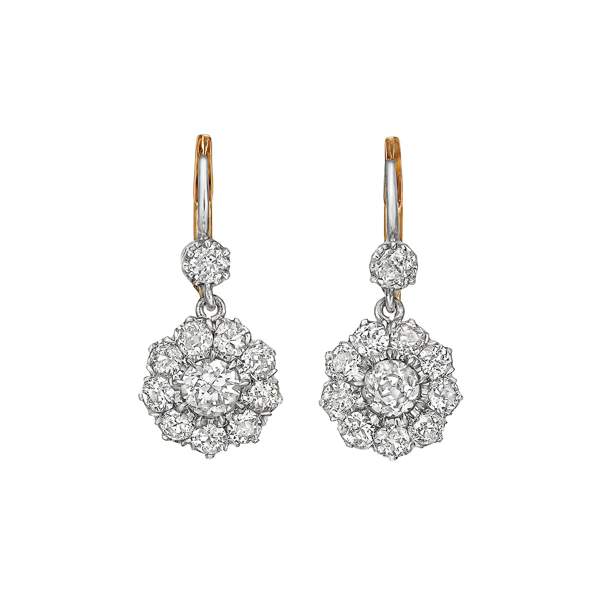 Diamond Floret Cer Drop Earrings Set With Twenty Two Old Mine Cut Diamonds Weighing Roximately 3 00 Total Carats In Platinum