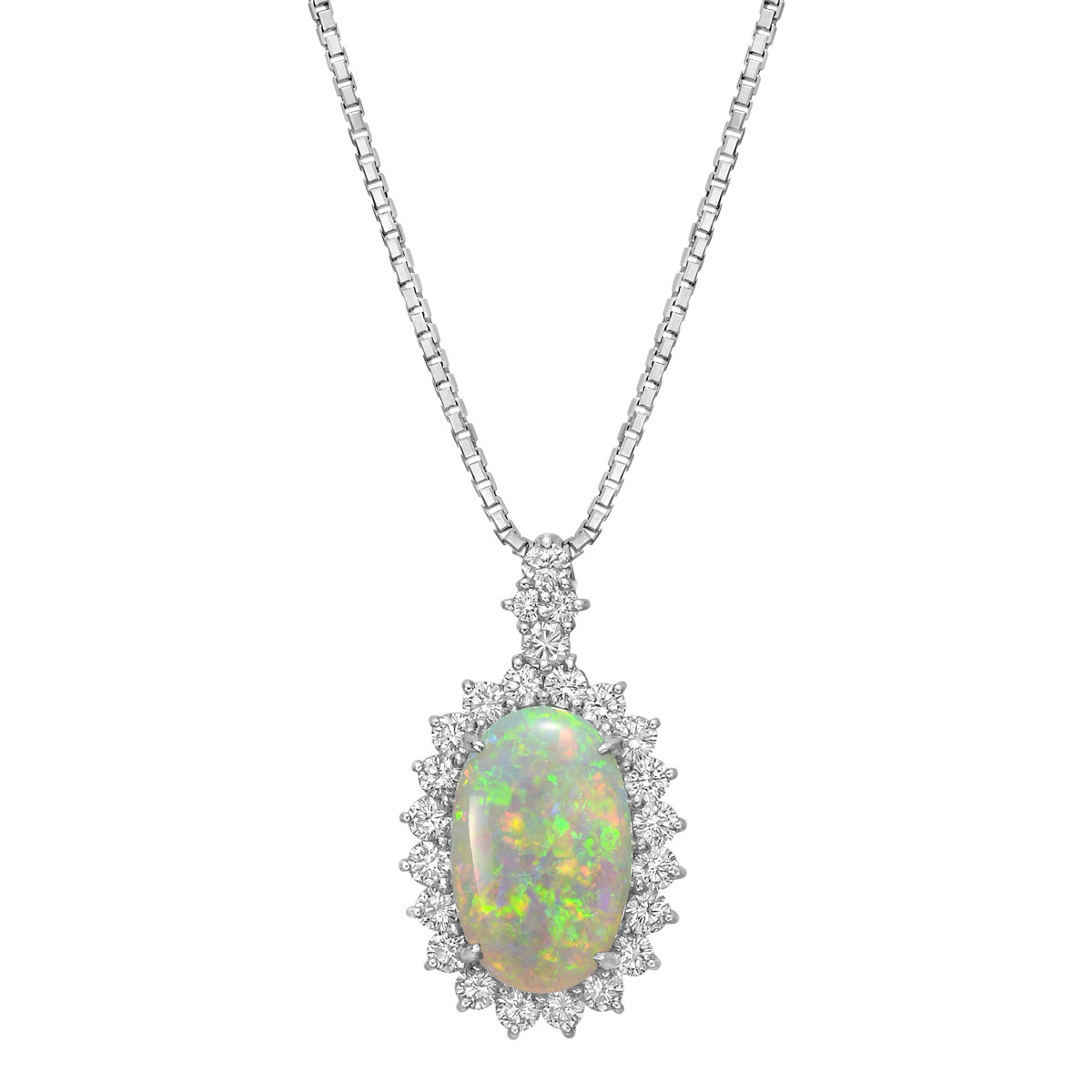 Oval Opal & Diamond Cluster Pendant Necklace