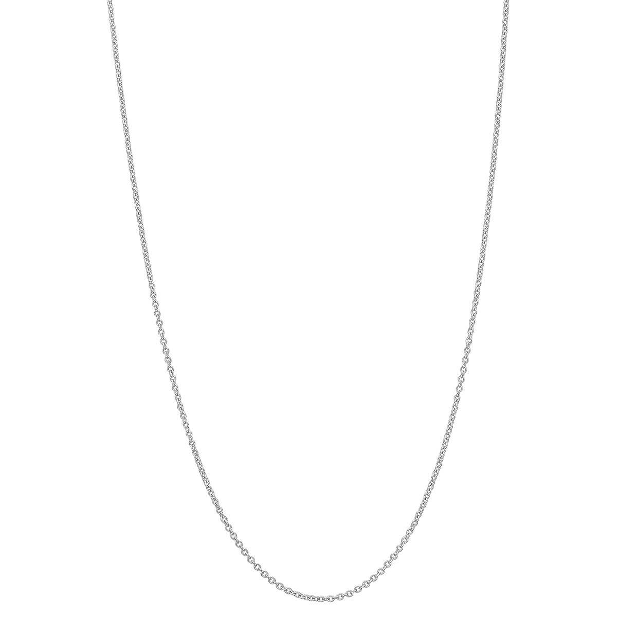 "Platinum Thin Round Link Chain Necklace (16"")"