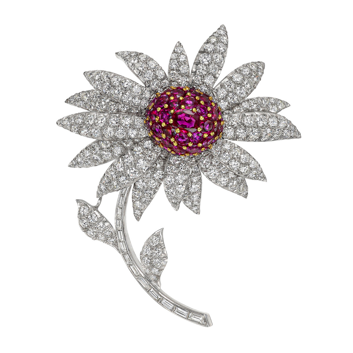 Platinum, Ruby & Diamond Flower Brooch