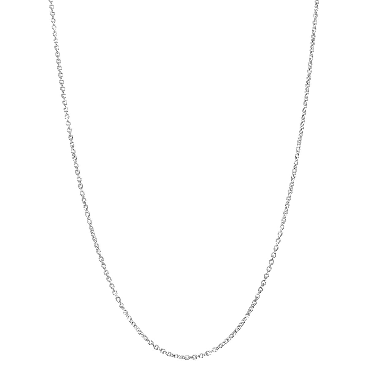 "Platinum Round Link Chain Necklace (18"")"