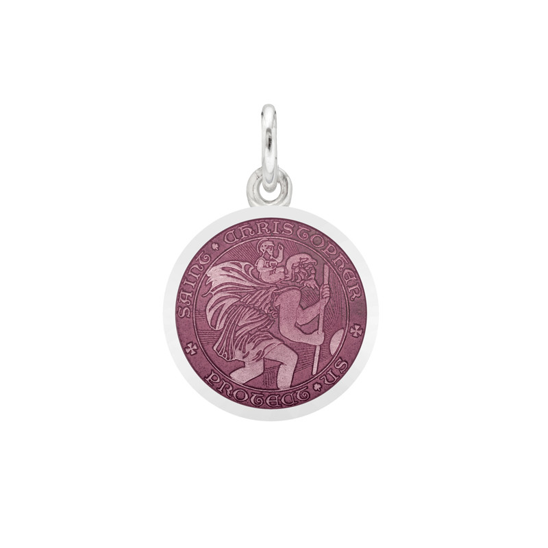 XS Silver St. Christopher Medal with Lavender Enamel
