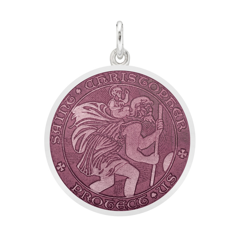 Medium Silver St. Christopher Medal with Lavender Enamel