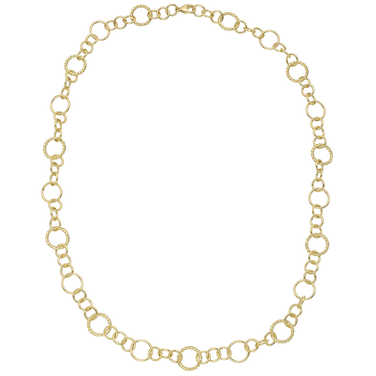 18k Yellow Gold Polished & Twisted Link Long Necklace