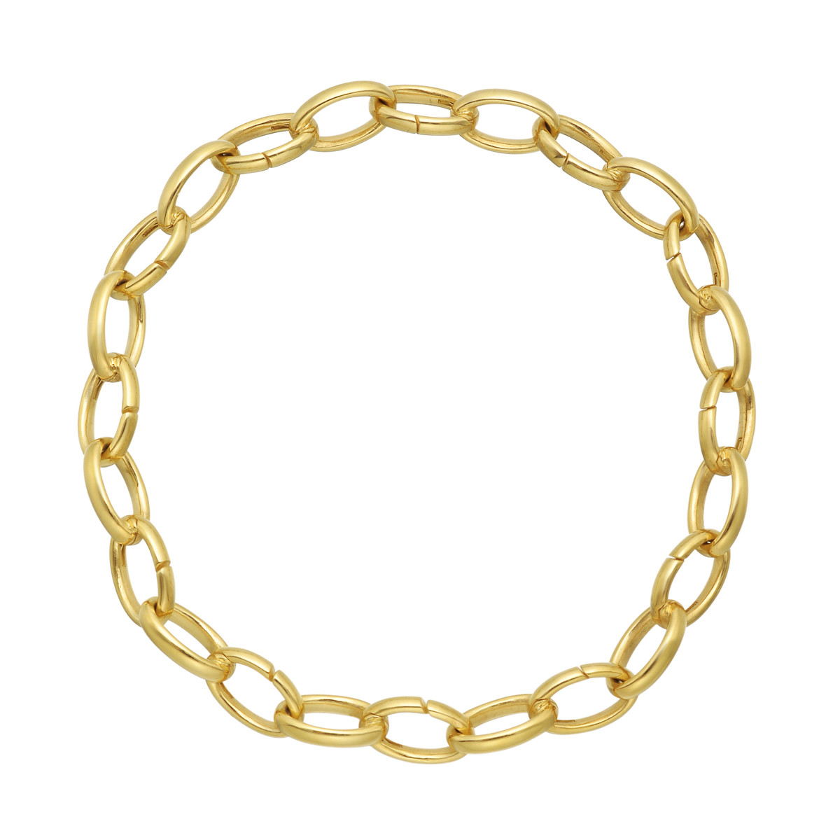 18k Yellow Gold Oval Link Adjustable Bracelet