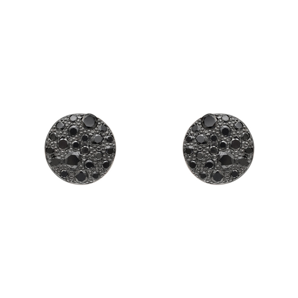 "Small Pavé Black Diamond ""Sabbia"" Earstuds"