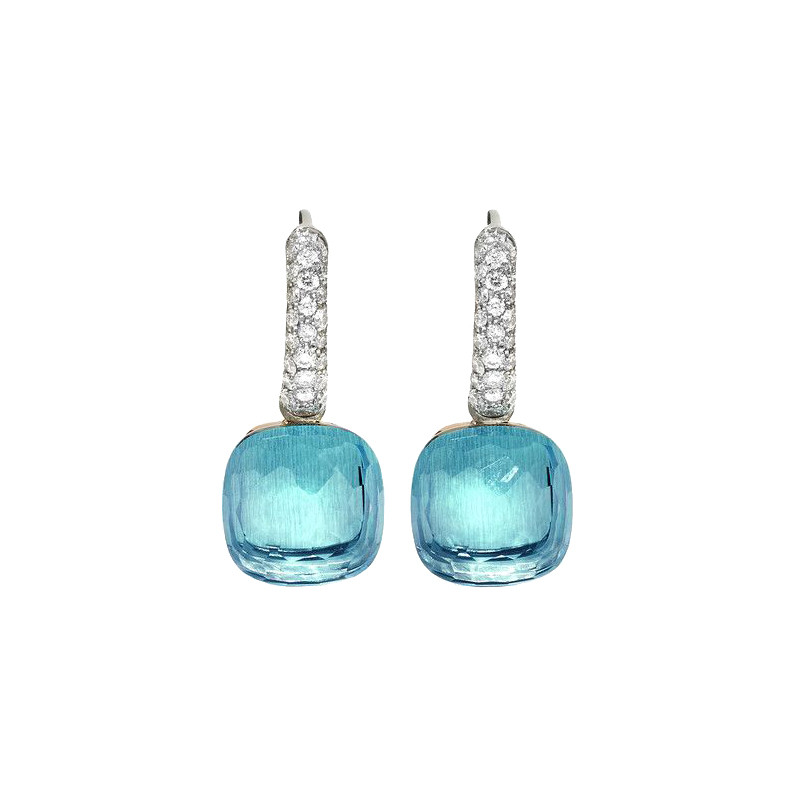 "Blue Topaz & Diamond ""Nudo"" Earrings"