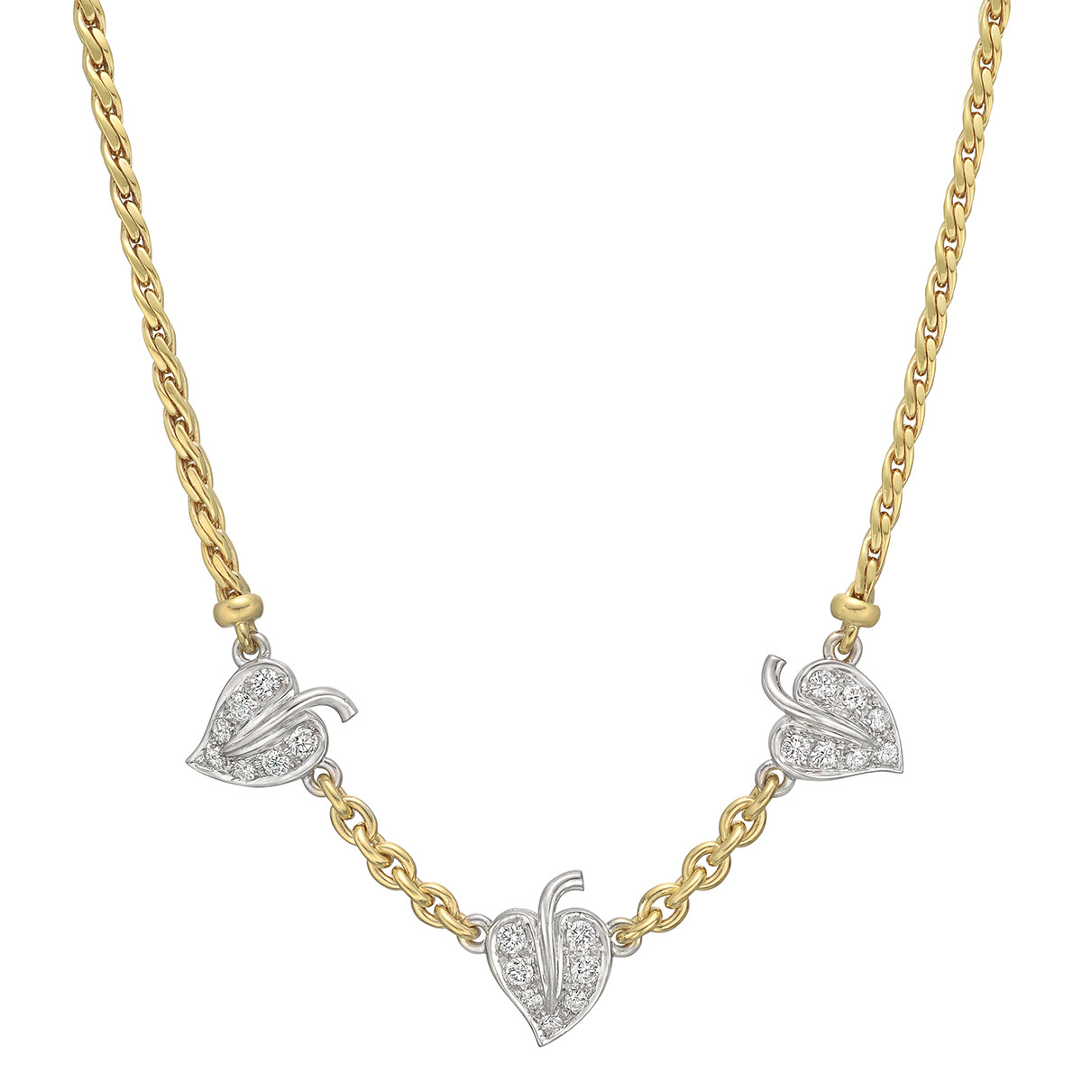 18k Yellow Gold & Diamond 3-Leaf Necklace
