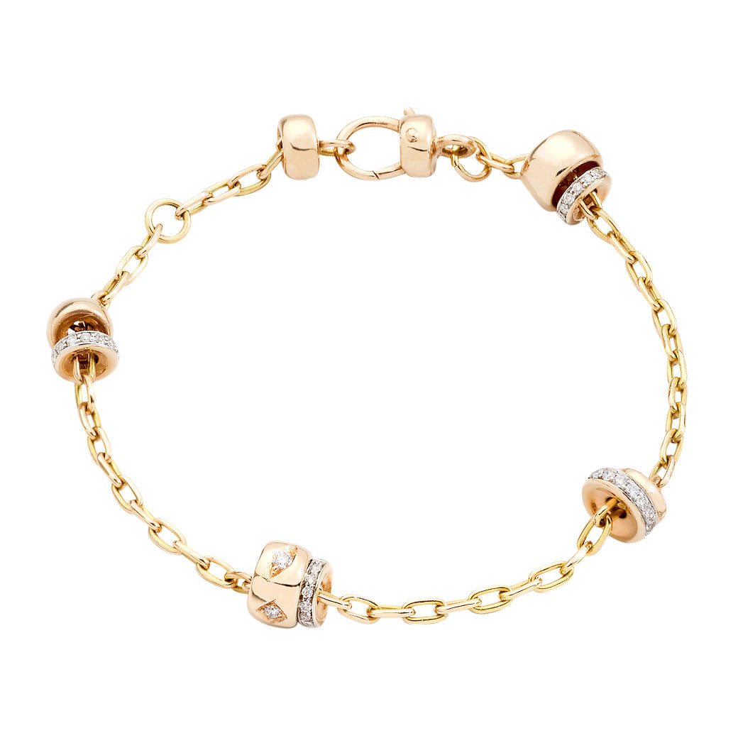 "18k Rose Gold & Diamond ""Iconica"" Rondelle Bracelet"