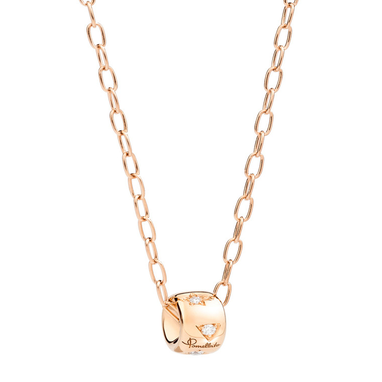 "18k Rose Gold & Diamond ""Iconica"" Rondelle Pendant"