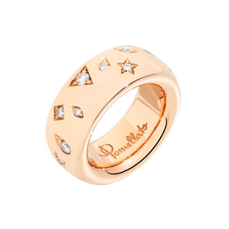 "18k Rose Gold & Diamond ""Iconica"" Band Ring"