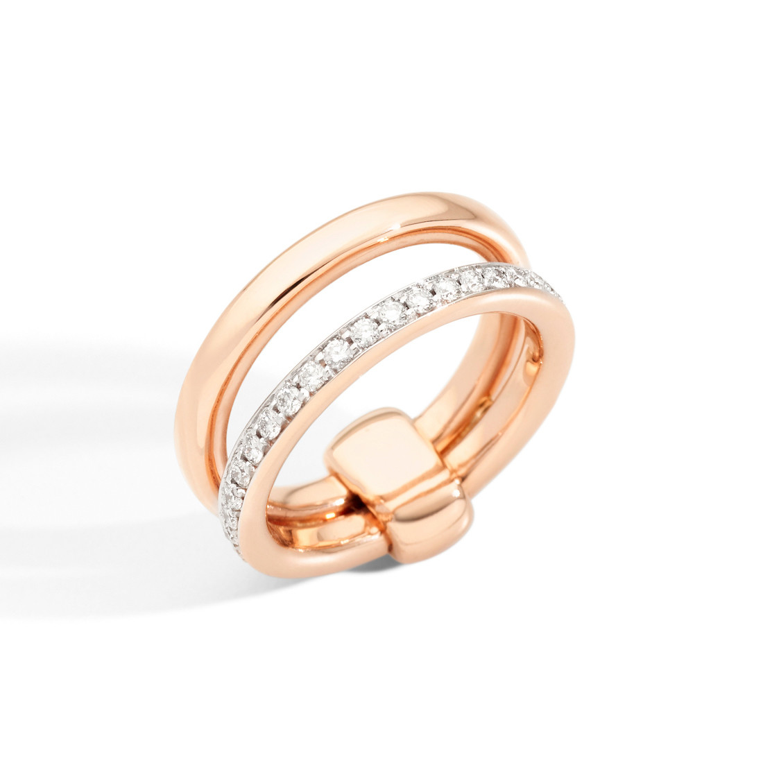 """18k Rose Gold & Diamond """"Iconica"""" Double Ring"""