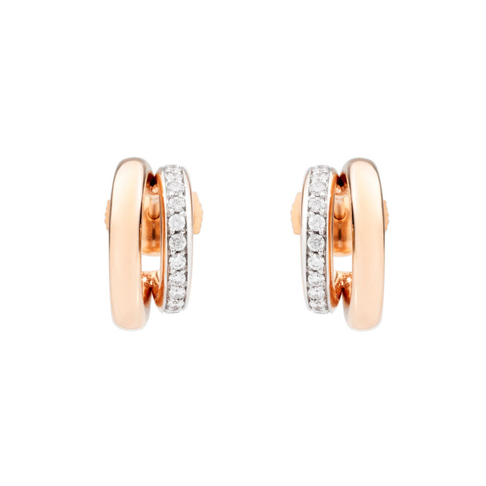 "18k Rose Gold & Diamond ""Iconica"" Double Hoops"