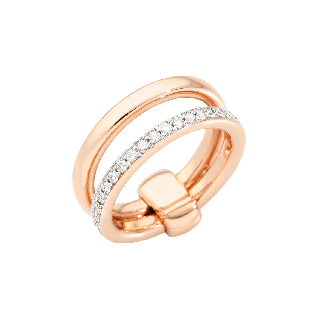 "18k Rose Gold & Diamond ""Iconica"" Double Ring"