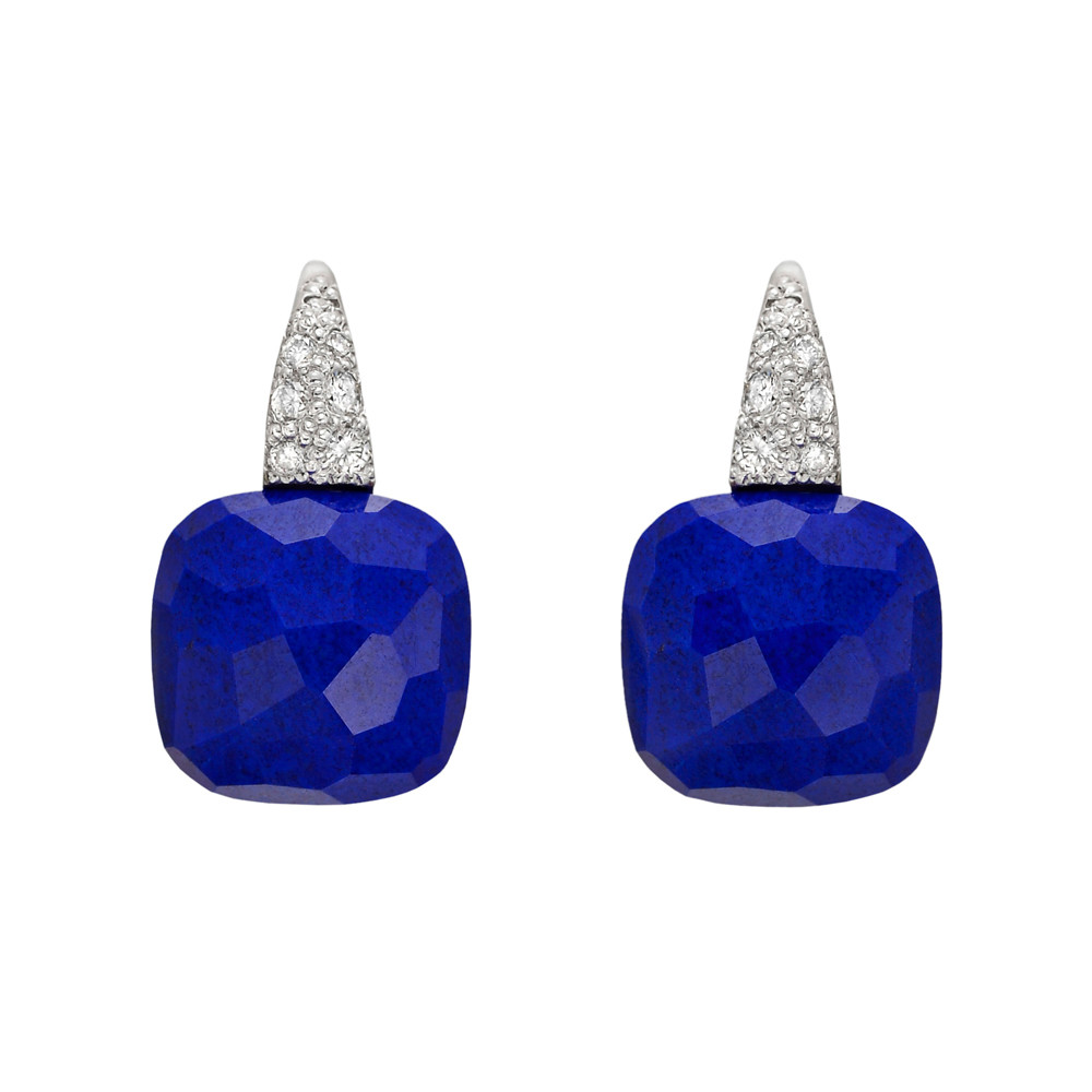 Capri Short Drop Earrings Composed Of A Cushion Shaped Lapis Suspended From Pavé Diamond Wire With Hinged Enclosure Mounted In 18k White Gold