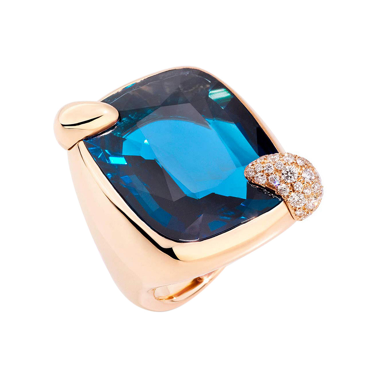 "Large London Blue Topaz ""Ritratto"" Ring"