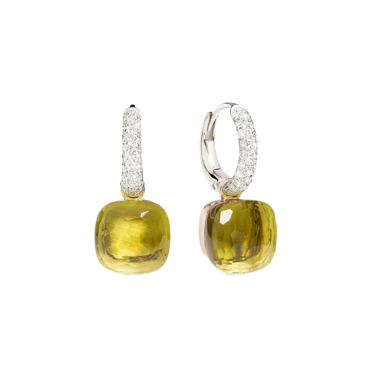 "Lemon Quartz & Diamond ""Nudo"" Drop Earrings"