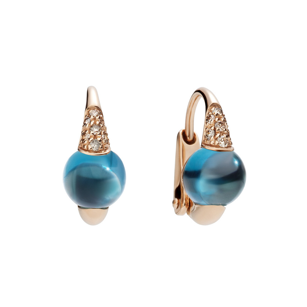 "London Blue Topaz & Brown Diamond ""M'ama Non M'ama"" Earrings"