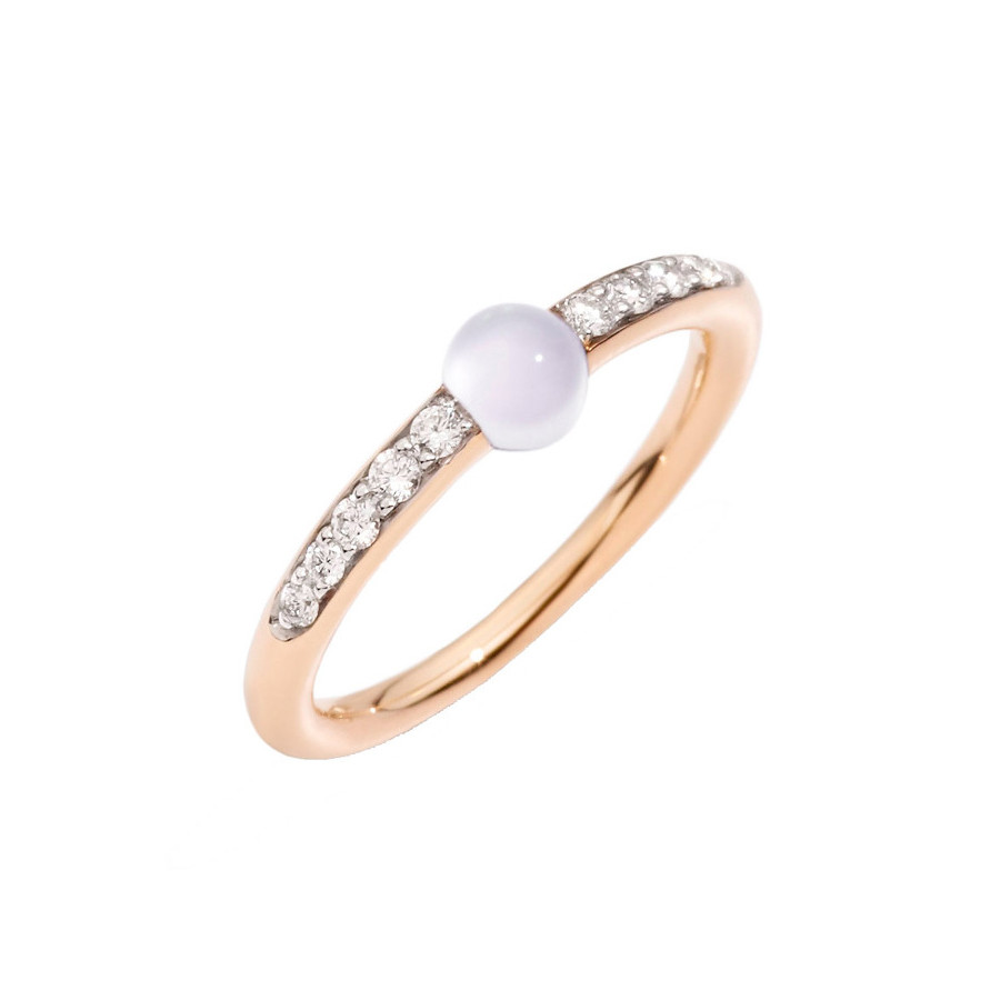 "Moonstone & Diamond ""M'ama Non M'ama"" Ring"