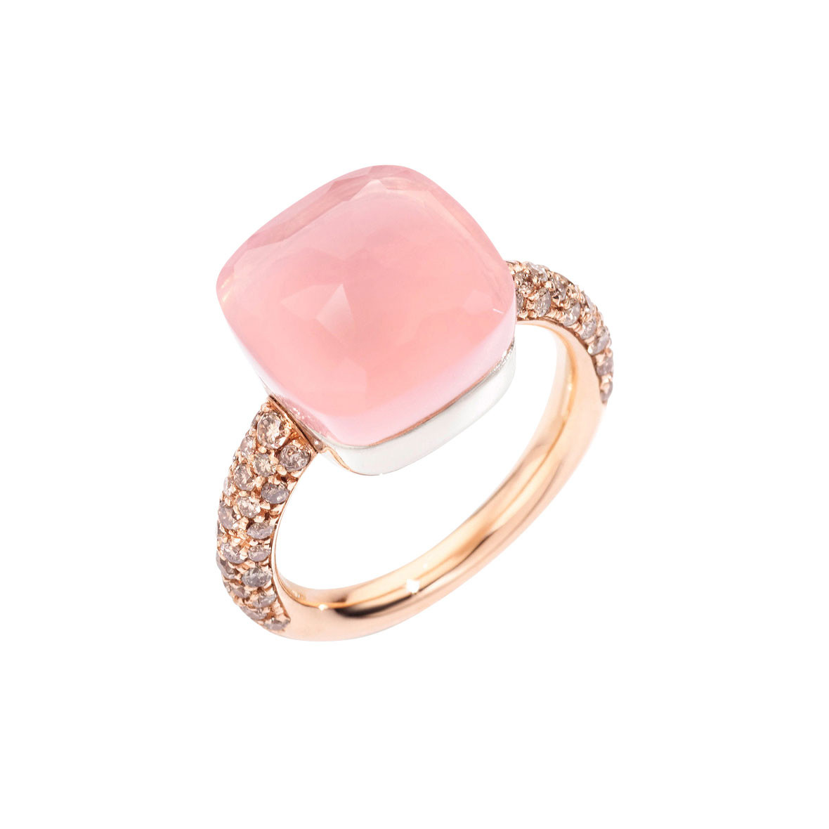 "Maxi Rose Quartz & Brown Diamond ""Nudo"" Ring"