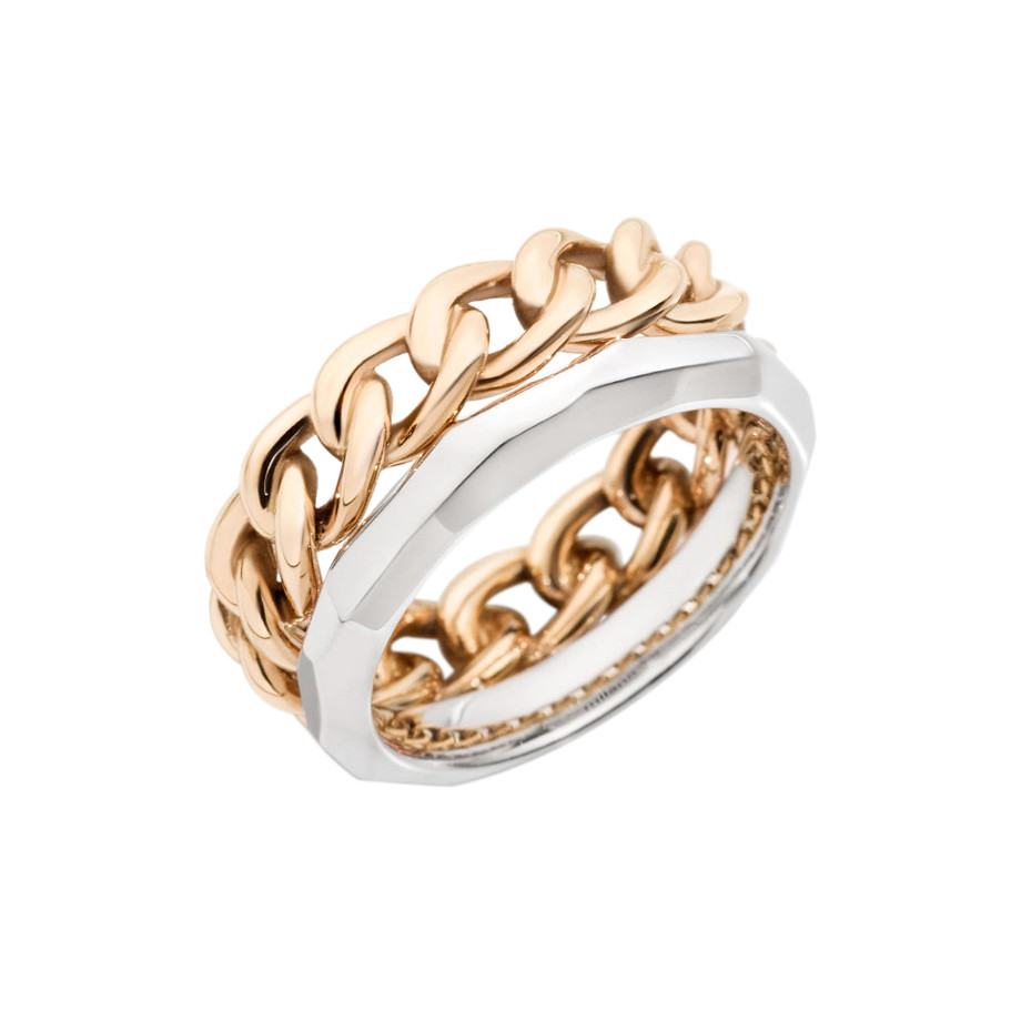 "18k Rose & White Gold ""Milano"" 2-Row Band Ring"