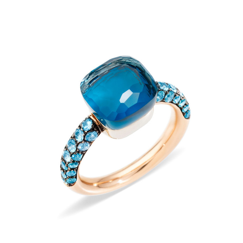 "London Blue Topaz & Turquoise Nudo ""Deep Blue"" Ring"