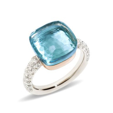 "Blue Topaz & Diamond ""Nudo"" Ring"