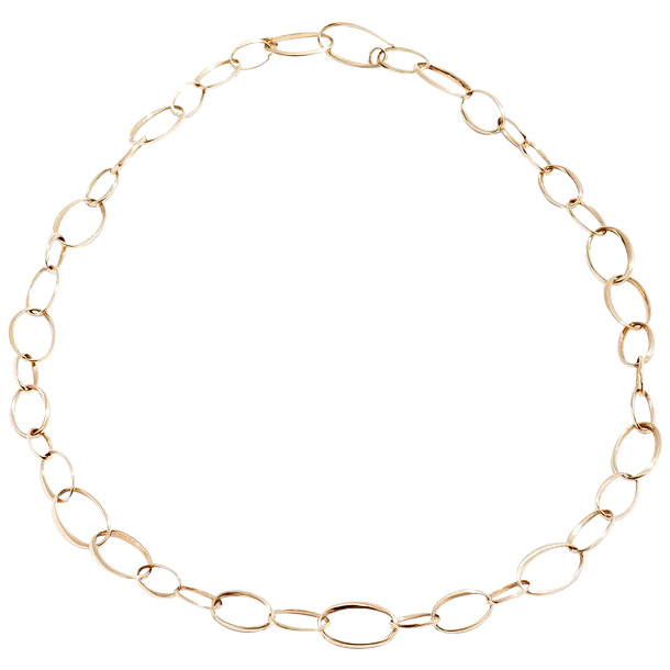 18k Rose Gold Mixed Oval Link Necklace