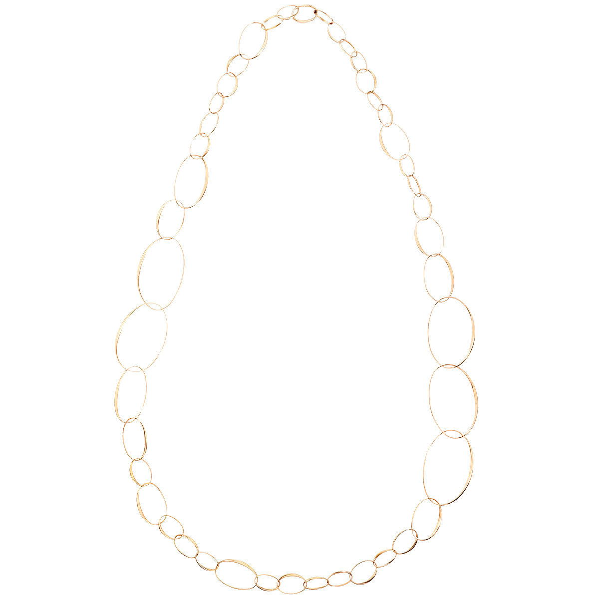 18k Rose Gold Mixed Oval Link Long Necklace
